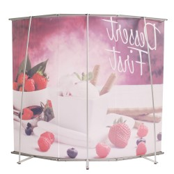 3 PIECE L BANNER CURVED WALL   PRINT AND STAND PACKAGE