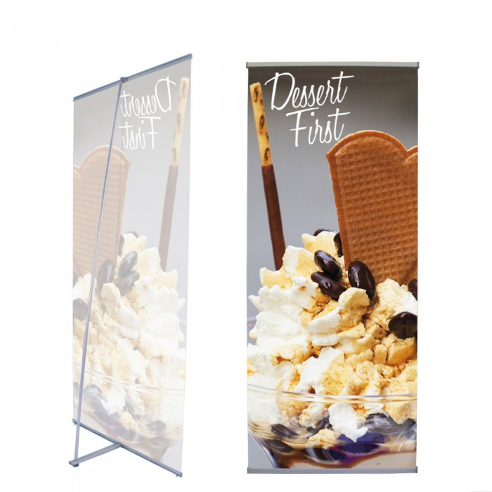 L Indoor Banner Stand   PRINT AND STAND PACKAGE